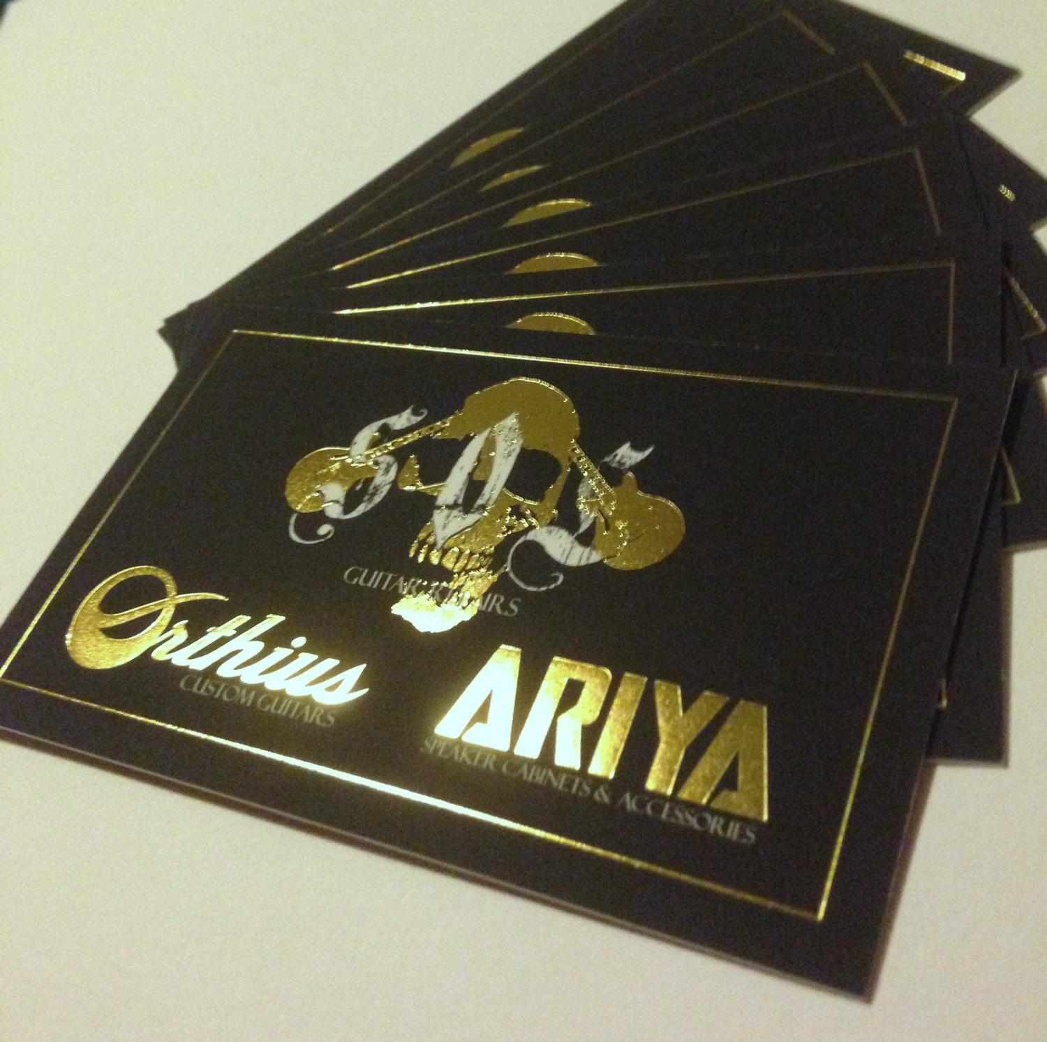 Business Card design and printing for SOL Orthius Guitars and ARIYA
